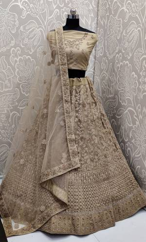 This Wedding Season, Look The Most Graceful Of All Wearing This Heavy Designer Elegant Lehenga Choli In Beige Color. Its Blouse, Lehenga And Dupatta are Fabricated on Net Beautified With Tone To Tone Coding And Resham Embroidery With Stone Work. Its Pretty Elegant Color And Tone-To-Tone Work Will Definitely Earn You Lots Of Compliments From Onlookers.