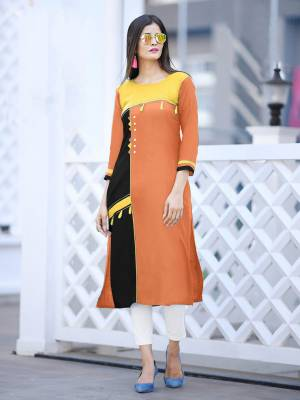 Add Some Casuals with This Readymade Straight Kurti In Orange Color Fabricated On Cotton. Its Fabric Is Soft Towards Skin And Easy To Carry All Day Long. Also It Is Available In All Regular Sizes. Buy Now.