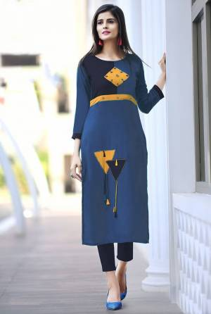 Add Some Casuals with This Readymade Straight Kurti In Blue Color Fabricated On Cotton. Its Fabric Is Soft Towards Skin And Easy To Carry All Day Long. Also It Is Available In All Regular Sizes. Buy Now.
