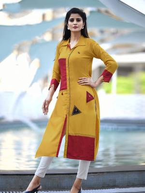 Add Some Casuals with This Readymade Straight Kurti In Musturd Yellow Color Fabricated On Cotton. Its Fabric Is Soft Towards Skin And Easy To Carry All Day Long. Also It Is Available In All Regular Sizes. Buy Now.