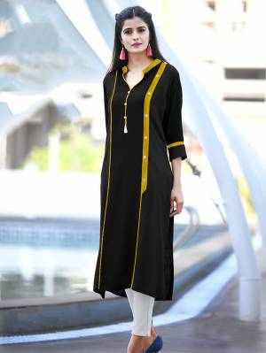 Add Some Casuals with This Readymade Straight Kurti In Black Color Fabricated On Cotton. Its Fabric Is Soft Towards Skin And Easy To Carry All Day Long. Also It Is Available In All Regular Sizes. Buy Now.