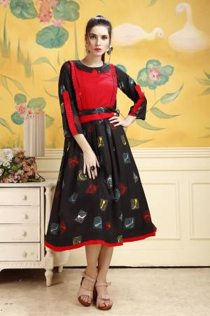 Add This Beautiful Kurti To Your Wardrobe In Black Color. This Kurti Is Fabricated On Rayon Beautified With Prints All Over. Buy This Kurti Now.