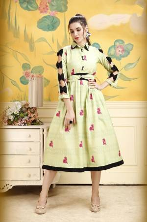 Add This Beautiful Kurti To Your Wardrobe In Light Green Color. This Kurti Is Fabricated On Rayon Beautified With Prints All Over. Buy This Kurti Now.