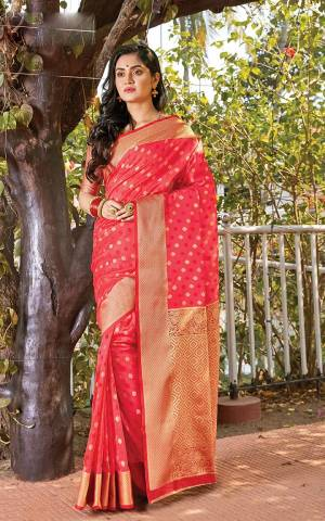 Grab This Very Pretty Designer Saree In Rani Pink Color Suitable For?Any Occasion Or Festive Wear. This Saree Is Cotton Silk Based Paired With Jacquard Silk Fabricated Blouse