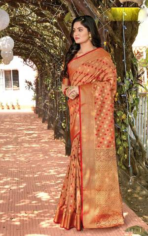 Grab This Very Pretty Designer Saree In Light Brown Color Suitable For?Any Occasion Or Festive Wear. This Saree Is Cotton Silk Based Paired With Jacquard Silk Fabricated Blouse
