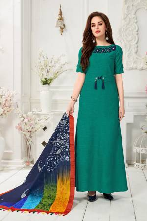 Celebrate This Festive Season With Beauty And comfort Wearing This Readymade Gown In Teal Green Color Paired With Navy Blue And Multi colored Digital Printed Dupatta. This Gown Is Fabricated On Cotton Slub Paired With Chanderi Cotton Dupatta.