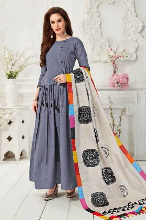Celebrate This Festive Season With Beauty And comfort Wearing This Readymade Gown In Dark grey Color Paired With Light Grey And Multi colored Digital Printed Dupatta. This Gown Is Fabricated On Cotton Slub Paired With Chanderi Cotton Dupatta.