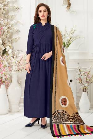 Celebrate This Festive Season With Beauty And comfort Wearing This Readymade Gown In Navy Blue Color Paired With Beige And Multi colored Digital Printed Dupatta. This Gown Is Fabricated On Cotton Slub Paired With Chanderi Cotton Dupatta.