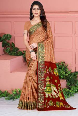 Celebrate This Festive Season Wearing This Pretty Saree In Beige Color. This Saree And Blouse Are Silk Based Beautified With Prints. Also It Is Light In Weight Which Is Perfect For Festive Wear. Buy Now.