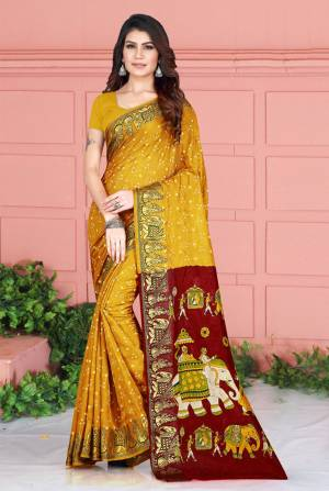 Celebrate This Festive Season Wearing This Pretty Saree In Musturd Yellow Color. This Saree And Blouse Are Silk Based Beautified With Prints. Also It Is Light In Weight Which Is Perfect For Festive Wear. Buy Now.