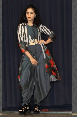 Add This Designer Readymade Indo-Western Set You Wardrobe In Grey Color. This Set Contains Is Blouse And Dhoti Paired With A Lovely Printed Jacket. This Pretty Dress Is Fabricated On Rayon Which Is Soft Towards Skin And Easy To Carry All Day Long.