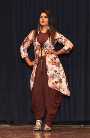 Add This Designer Readymade Indo-Western Set You Wardrobe In Brown Color. This Set Contains Is Blouse And Dhoti Paired With A Lovely Printed Jacket. This Pretty Dress Is Fabricated On Rayon Which Is Soft Towards Skin And Easy To Carry All Day Long.