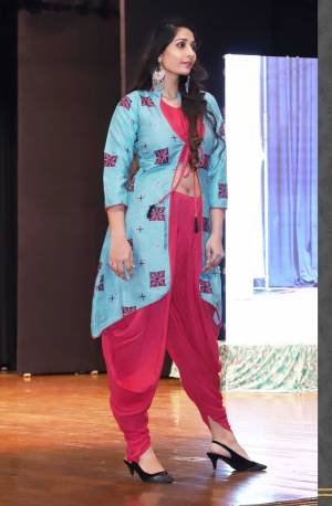 Add This Designer Readymade Indo-Western Set You Wardrobe In Dark Pink Color. This Set Contains Is Blouse And Dhoti Paired With A Lovely Printed Jacket. This Pretty Dress Is Fabricated On Rayon Which Is Soft Towards Skin And Easy To Carry All Day Long.