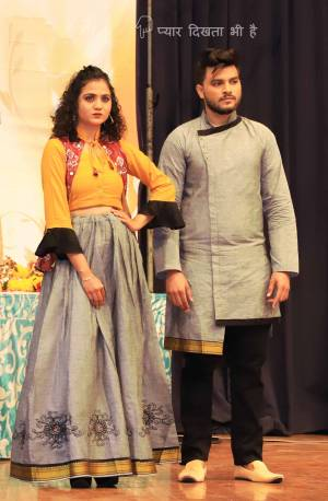 Grab This Special Combo Of Men And Women In Grey And Musturd Yellow Color Which Is Fully Stitched And Available In All Regular Sizes. In This Combo You will Be Getting A Lehenga & Choli With Matching Men's Wear Kurta. All Three Pieces Are Fabricated On Khadi Cotton Which Is Light Weight, Durable And Easy To Carry Throughout The Gala. Buy Now.