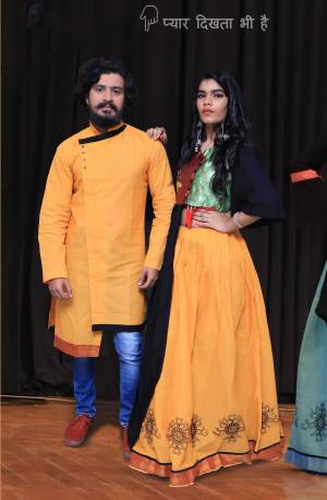 Grab This Special Combo Of Men And Women In Yellow And Black Color Which Is Fully Stitched And Available In All Regular Sizes. In This Combo You will Be Getting A Lehenga & Choli With Matching Men's Wear Kurta. All Three Pieces Are Fabricated On Khadi Cotton Which Is Light Weight, Durable And Easy To Carry Throughout The Gala. Buy Now.