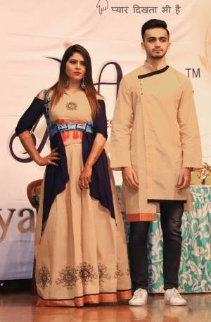 Grab This Special Combo Of Men And Women In Beige And Navy Blue Color Which Is Fully Stitched And Available In All Regular Sizes. In This Combo You will Be Getting A Lehenga & Choli With Matching Men's Wear Kurta. All Three Pieces Are Fabricated On Khadi Cotton Which Is Light Weight, Durable And Easy To Carry Throughout The Gala. Buy Now.