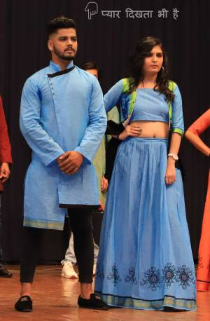 Grab This Special Combo Of Men And Women In Sky Blue Color Which Is Fully Stitched And Available In All Regular Sizes. In This Combo You will Be Getting A Lehenga & Choli With Matching Men's Wear Kurta. All Three Pieces Are Fabricated On Khadi Cotton Which Is Light Weight, Durable And Easy To Carry Throughout The Gala. Buy Now.