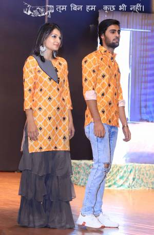 Grab This Special Combo Of Men And Women In Orange And Grey Color Which Is Fully Stitched And Available In All Regular Sizes. In This Combo You will Be Getting A Kurti And Sharara With Matching Men's Wear Shirt. All Three Pieces Are Cotton Based Which Is Light Weight, Durable And Easy To Carry Throughout The Gala. Buy Now.