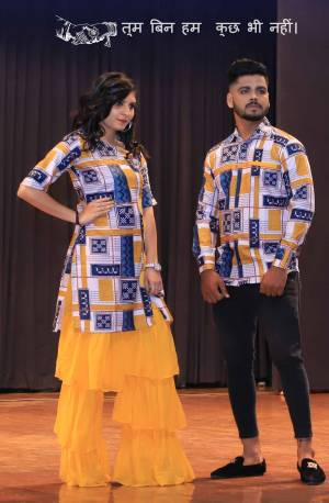Grab This Special Combo Of Men And Women In Blue And Yellow Color Which Is Fully Stitched And Available In All Regular Sizes. In This Combo You will Be Getting A Kurti And Sharara With Matching Men's Wear Shirt. All Three Pieces Are Cotton Based Which Is Light Weight, Durable And Easy To Carry Throughout The Gala. Buy Now.