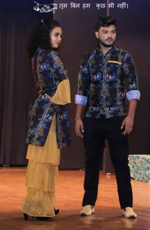 Grab This Special Combo Of Men And Women In Navy Blue And Beige Color Which Is Fully Stitched And Available In All Regular Sizes. In This Combo You will Be Getting A Kurti And Sharara With Matching Men's Wear Shirt. All Three Pieces Are Cotton Based Which Is Light Weight, Durable And Easy To Carry Throughout The Gala. Buy Now.