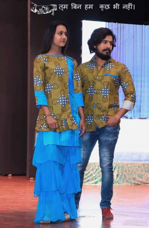 Grab This Special Combo Of Men And Women In Olive Green And Blue Color Which Is Fully Stitched And Available In All Regular Sizes. In This Combo You will Be Getting A Kurti And Sharara With Matching Men's Wear Shirt. All Three Pieces Are Cotton Based Which Is Light Weight, Durable And Easy To Carry Throughout The Gala. Buy Now.