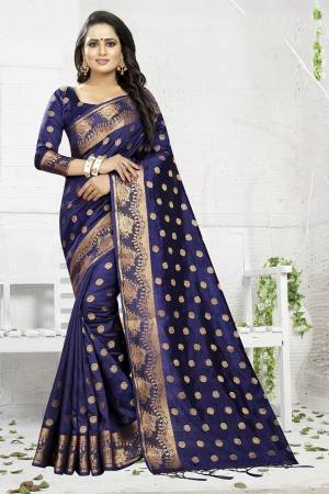 Celebrate This Festive Season Wearing This Designer Silk Based Saree In Navy Blue Color. This Saree And Blouse Are Fabricated On Banarasi Art Silk Beautified With Weave. It Is Light Weight, Durable And Easy To Carry All Day Long. Buy Now.