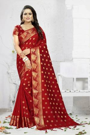 Celebrate This Festive Season Wearing This Designer Silk Based Saree In Red Color. This Saree And Blouse Are Fabricated On Banarasi Art Silk Beautified With Weave. It Is Light Weight, Durable And Easy To Carry All Day Long. Buy Now.