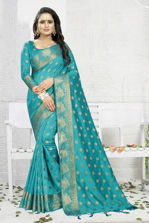Celebrate This Festive Season Wearing This Designer Silk Based Saree In Blue Color. This Saree And Blouse Are Fabricated On Banarasi Art Silk Beautified With Weave. It Is Light Weight, Durable And Easy To Carry All Day Long. Buy Now.