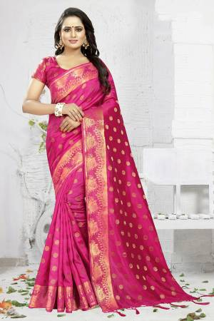 Celebrate This Festive Season Wearing This Designer Silk Based Saree In Rani Pink Color. This Saree And Blouse Are Fabricated On Banarasi Art Silk Beautified With Weave. It Is Light Weight, Durable And Easy To Carry All Day Long. Buy Now.
