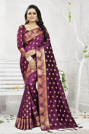 Celebrate This Festive Season Wearing This Designer Silk Based Saree In Wine Color. This Saree And Blouse Are Fabricated On Banarasi Art Silk Beautified With Weave. It Is Light Weight, Durable And Easy To Carry All Day Long. Buy Now.