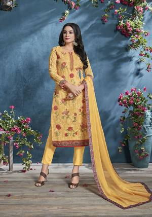 Celebrate This Festive Season With beauty And Comfort Wearing This Designer Straight Suit In Yellow Color. This Suit Is Cotton Based Paired With Cotton bottom And Chiffon Fabricated Dupatta. Buy  Now.
