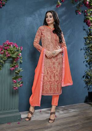 Add This Pretty Designer Straight Suit To Your Wardrobe In Orange Color. This Petty Semi-Stitched Suit Is Cotton Based Paired With Santoon Bottom And Chiffon Dupatta. Its Top Is Beautified With Prints And Tone To Tone Resham Embroidery. Buy Now.
