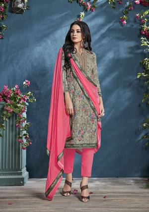 Celebrate This Festive Season With beauty And Comfort Wearing This Designer Straight Suit In Olive Green Colored Top Paired With Pink Colored Bottom And Dupatta. This Suit Is Cotton Based Paired With Cotton bottom And Chiffon Fabricated Dupatta. Buy  Now.