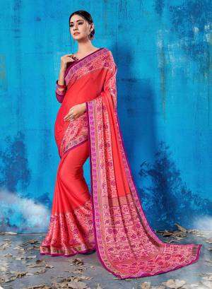 Add This Lovely Printed Saree To Your Wardrobe In Pink Color Paired With Purple Colored Blouse. This Saree And Blouse Are Soft Silk Based Which Is Durable And Gives A Rich Look To Your Personality. Buy Now.