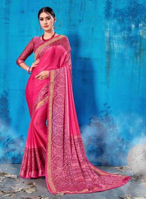 Add This Lovely Printed Saree To Your Wardrobe In Pink Color Paired With Magenta Pink Colored Blouse. This Saree And Blouse Are Soft Silk Based Which Is Durable And Gives A Rich Look To Your Personality. Buy Now.