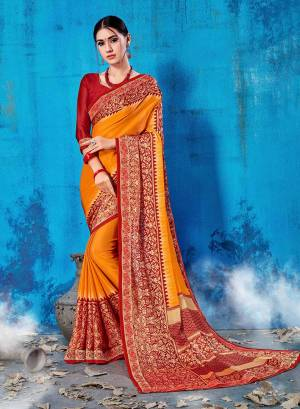 For Your Semi-Casual Wear, Grab This Pretty Saree In Musturd Yellow Color Paired With Maroon Colored Blouse. This Saree And Blouse Are Fabricated On Soft Silk Beautified With Prints All Over. This Saree Is Light Weight, Soft Towards Skin And Easy To Carry All Day Long.