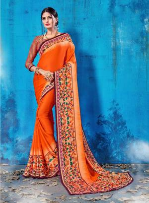For Your Semi-Casual Wear, Grab This Pretty Saree In Orange Color Paired With Gold And Dark Pink Colored Blouse. This Saree And Blouse Are Fabricated On Soft Silk Beautified With Prints All Over. This Saree Is Light Weight, Soft Towards Skin And Easy To Carry All Day Long.