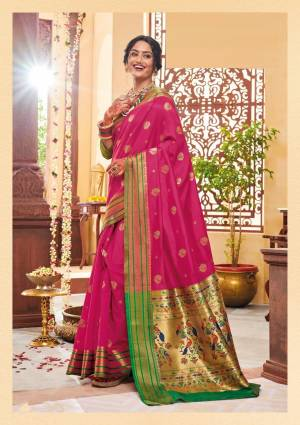 Shine Bright Wearing This Attractive Looking Saree In Rani Pink Color Paired With Contrasting Green Colored Blouse. This Saree And Blouse Are Fabricated On Banarasi Art Silk Beautified With Weave. Buy This Saree Now.