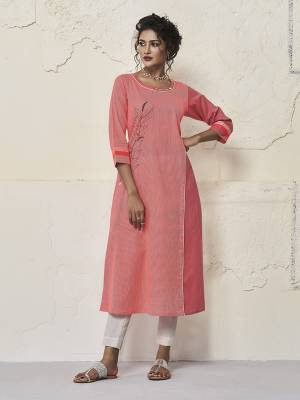 For Your Semi-Casual Wear, Grab This Readymade Straight Kurti In Old Rose Pink Color Fabricated On Cotton. This Kurti Is Beautified With Thread Work And It Is Light Weight And Easy To Carry All Day Long.