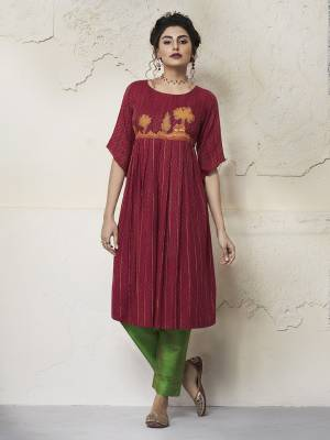 Celebrate This Festive Season With Beauty And Comfort Wearing This Pretty Readymade Kurti In Maroon Color Fabricated On Rayon. It Has Beautiful Pattern Which Will Earn You Lots Of Compliments From Onlookers.