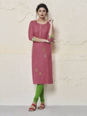 Simple Kurti Is Here To Add Into Your Wardrobe With This Readymade Kurti In Pink Color Fabricated On Rayon. This Kurti Is Light Weight And Available In All Regular Sizes.