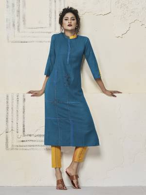 Here Is A Very Pretty Designer Readymade Straight Kurti In Blue Color Fabricated On Rayon. It Is Beautified With Elegant Thread Work And You Can Pair This Up With Same Or Contrasting Colored Bottom.