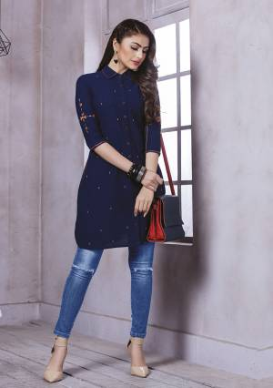 You Will Definitely Earn Lots Of Compliments Wearing This Designer Stylish Readymade Kurti In Navy Blue Color Fabricated On Cotton. You Can Pair This Up With Denim, Pants Of Leggings.