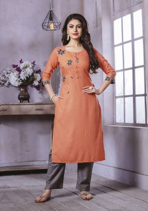 Add This Pretty Kurti To Your Wardrobe In Light Orange Color Fabricated On Rayon. This Readymade Straight Kurti Is Available In All Regular Sizes.
