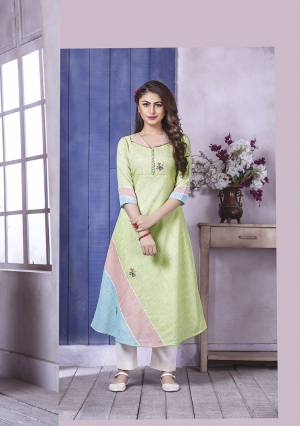 Celebrate This Festive Season Wearing This Designer Readymade Kurti In Light Green color Fabricated on Linen. Its Lovely Color Pallete And A-Line Pattern Will Earn You Lots Of Compliments From Onlookers.