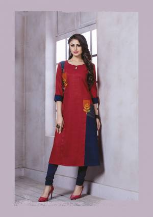 Grab This Pretty Readymade Kurti In Red Color Fabricated On Rayon. This Kurti Is Light Weight And Easy To Carry All Day Long.