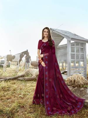 Shine Bright Wearing This Designer  Saree In Lovely Wine Color. This Saree Is Satin Georgette Based Paired With Art Silk Fabricated Blouse. Buy This Designer Piece Now.