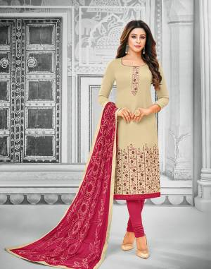 Rich And Elegant Looking Designer Dress Material Is Here For Your Semi-Casual Wear In Cream Colored Top Paired With Dark Pink Colored Bottom And Dupatta. Its Top And Bottom Are Cotton Based Paired With Chiffon Fabricated Dupatta. Buy Now.