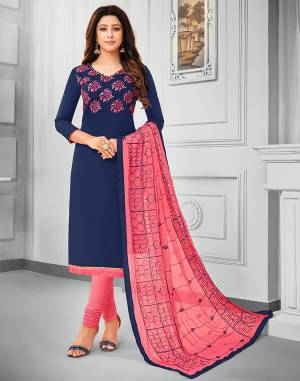 If Those Readymade Suit Does Not Lend You The Desired Comfort Than Grab This Cotton Based Embroidered Dress Material In Navy Blue Colored Top Paired With Contrasting Pink Colored Bottom And Dupatta. Its Pretty Chiffon Dupatta Is Beautified With Resham Embroidery. Get This Stitched As Per Your Desired Fit And Comfort.
