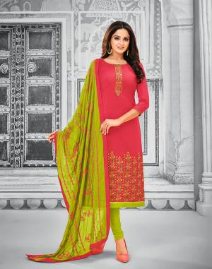 Rich And Elegant Looking Designer Dress Material Is Here For Your Semi-Casual Wear In Dark Pink Colored Top Paired With Parrot Green Colored Bottom And Dupatta. Its Top And Bottom Are Cotton Based Paired With Chiffon Fabricated Dupatta. Buy Now.